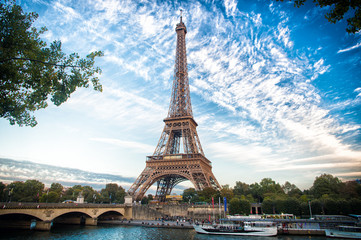 Eiffel Tower at sunset in Paris, France. Romantic travel background.
