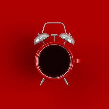 Alarm clock and coffee concept illustration isolated on red background, Top view with copy space, 3d rendering