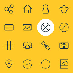 Vector illustration of 16 annex icons line style. Editable set of social, close, user and other icon elements.