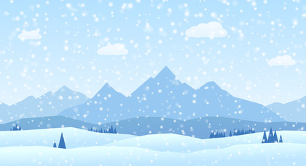 Vector winter landscape mountains flat design