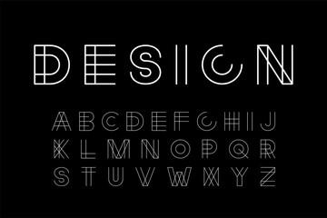 Vector designer modern font - minimalistic creative design. Trendy English alphabet - white latin letters Wall mural