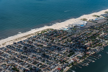 Aerial view of Long Beach in New York through airplane window