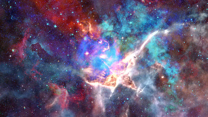 Nebula and open cluster in the universe. Element of this image furnished by NASA