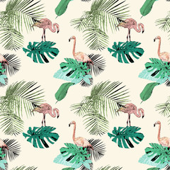 Seamless pattern with tropical palms and flamingo, vintage, grunge background. Perfect for print on fabric, wrapping paper etc.