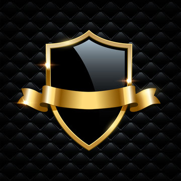 Black glass shield with golden frame and golden ribbon isolated on black background. Vector design element.