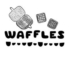 Waffles cover for cafe. Sketch concept illustration. Food flyer.