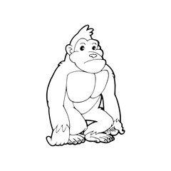 Gorilla cartoon illustration isolated on white background for children color book