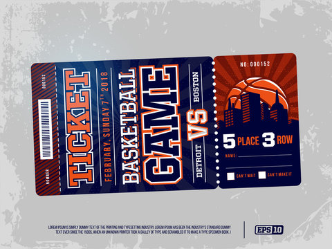 Modern professional design of basketball tickets in blue theme