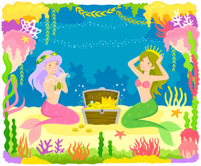 Two mermaids playing with a treasure chest surrounded by colorful corals