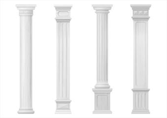 Set of white classic wood columns