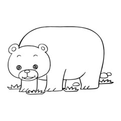 Bear cartoon illustration isolated on white background for children color book