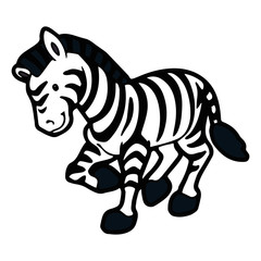 Zebra cartoon illustration isolated on white background for children color book