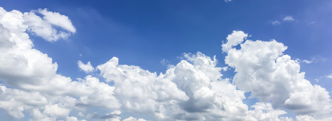Dramatic atmosphere panorama view of beautiful summer blue sky and clouds.