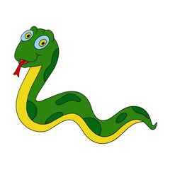 Snake cartoon illustration isolated on white background for children color book