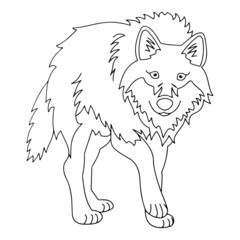 Wolf cartoon illustration isolated on white background for children color book
