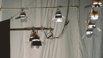 Big spotlight or lighting equipment for film movie or vdo shooting production in studio.