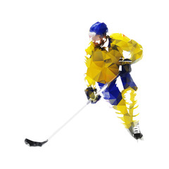 Ice hockey player in yellow jersey, low poly isolated vector illustration. Winter team sport