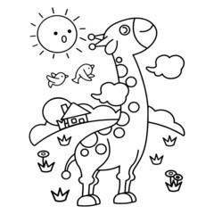 Giraffe cartoon illustration isolated on white background for children color book