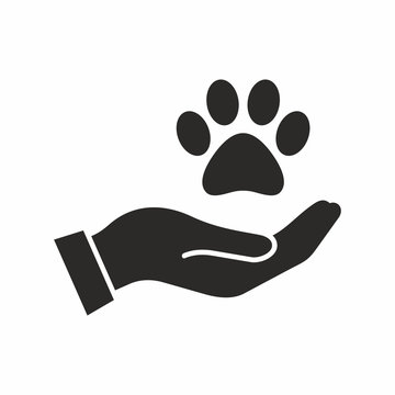 Pet care, adoption vector icon
