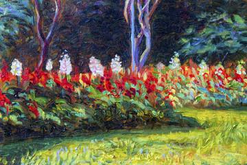 Painting  landscape original  oil color on canvas  of Salvia flowers.