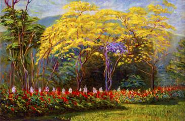 Painting  landscape original  oil color on canvas of tabebuia spectabilis.