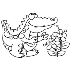 Crocodile cartoon illustration isolated on white background for children color book