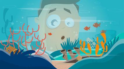 funny cartoon man watching in an aquarium