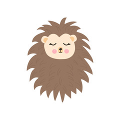 Cute cartoon animal character lovely sweet hedgehog sleepy. Vector isolated on white background