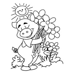 Pig cartoon illustration isolated on white background for children color book