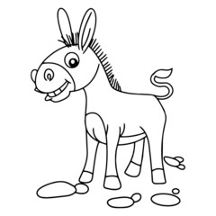 Donkey cartoon illustration isolated on white background for children color book