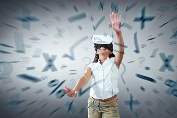 Composite image of girl wearing virtual reality simulator