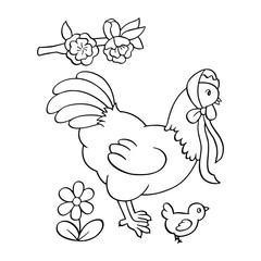 Hen cartoon illustration isolated on white background for children color book