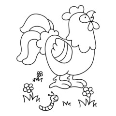 Cock cartoon illustration isolated on white background for children color book