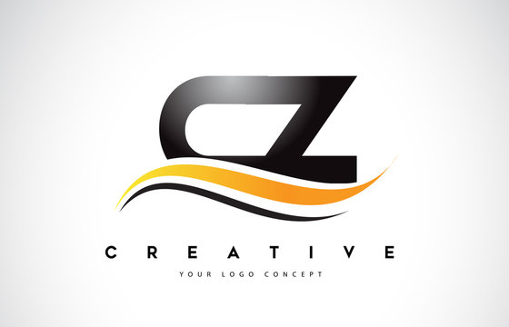 CZ C Z Swoosh Letter Logo Design with Modern Yellow Swoosh Curved Lines.