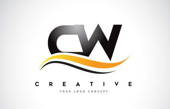 CW C W Swoosh Letter Logo Design with Modern Yellow Swoosh Curved Lines.