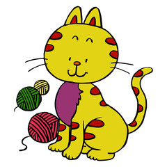 Cat cartoon illustration isolated on white background for children color book