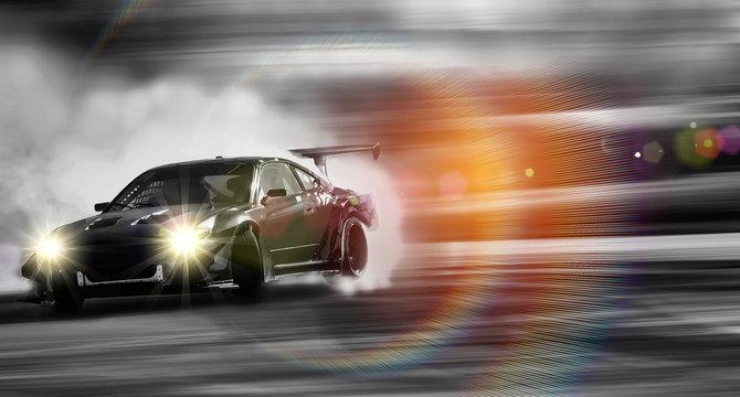 Car drifting, Sport car wheel drifting and smoking on blurred background.