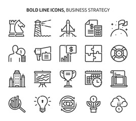 Business strategy, bold line icons