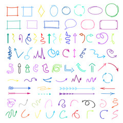 Arrows. Colored infographic elements on white background. Hand drawn simple symbols. Line art. Set of different pointers. Abstract indicators. Doodles for work. Art creation