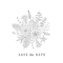 Floral bouquet for save the date, wedding, decoration.