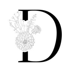 Floral alphabet. Decorative serif letter.