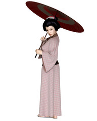 Young Japanese Woman in Pink Kimono with Red Parasol - illustration