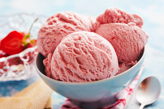 Bowl with strawberry ice-cream dessert