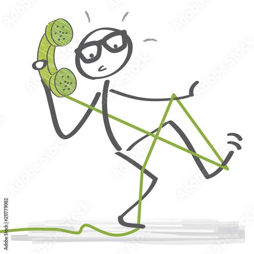 Telefonieren - Strichmännchen mit Festnetztelefon stolpert über ...