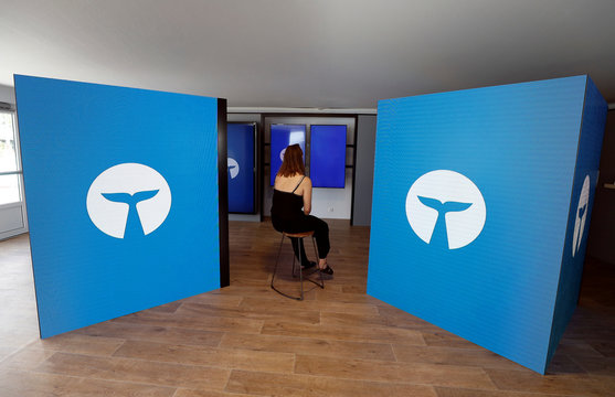 A member of Whalar is seen at their stand during the Cannes Lions International Festival of Creativity, in Cannes