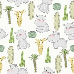 Vector hand drawn seamless pattern with cactuses and hippos