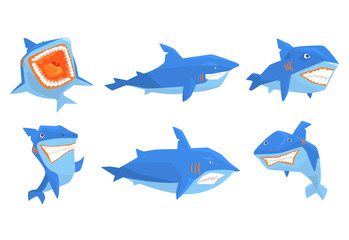 Flat vector set of blue shark in different poses. Marine animal with sharp teeth and big fin on back. Elements for mobile game