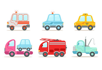 Flat vector set of various vehicles. Ambulance, police car, yellow taxi, tow truck, wrecking car and fire engine. Service transport