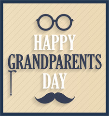 Grandparents Day retro poster. Vector illustration.