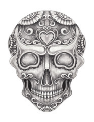 Art Sugar Skull Tattoo. Hand pencil drawing on paper.